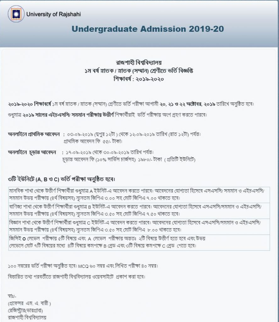 rajshahi university admission circular 2019-20,