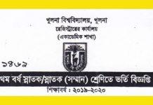 Khulna University Undergraduate Admission 2019-20