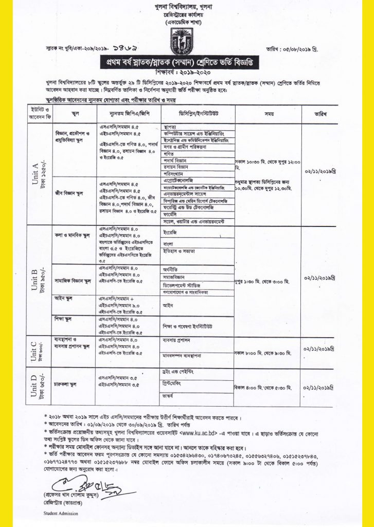 Khulna university admission circular 2019-20