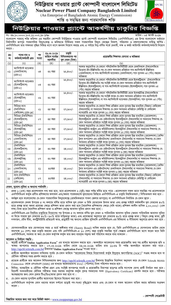 Rooppur nuclear power plant job circular 2019-3