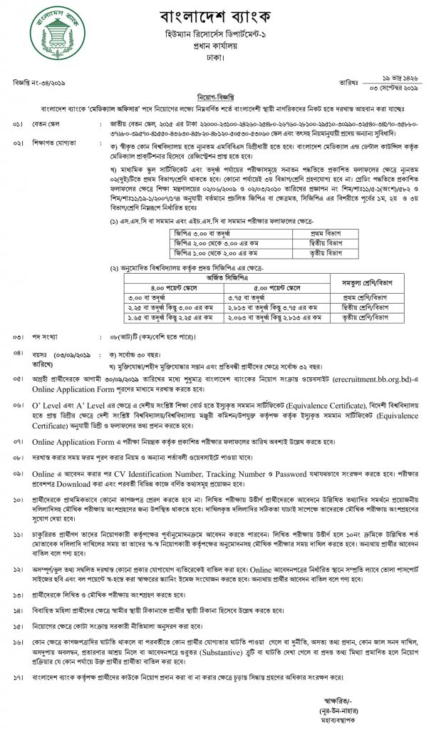 Bangladesh Bank Job Circular bb