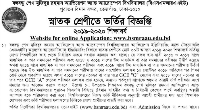 BSMRAAU BSC admission